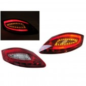 981 Style Red / Clear Light Bar LED Taillights for 987 Boxster & Cayman